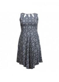 robe grande taille - robe imprimée avec col ajouré Blue Chameleon (face)