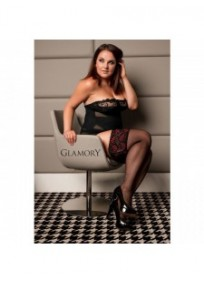 bas autofixant grande taille DELUXE 20 Glamory noir rouge