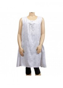 robe grande taille - robe chasuble trapèze Danny blanc (face)