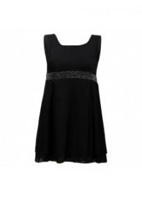 robe grande taille - petite robe noire de soirée perles à la taille Praslin (face)