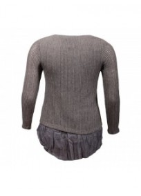 pull grande taille - pull ajouré Claude Gérard Taupe (dos)