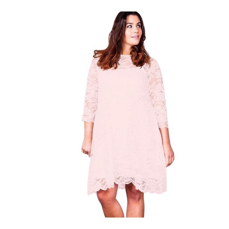 "robe grande taille - robe trapèze évasée dentelle + fond de robe uni ""Paisley"" Lili London (face)"