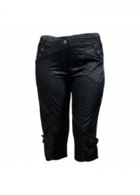 Pantalon grande taille - corsaire satiné Livvy Mystic noir (face)