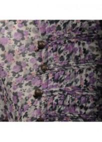 chemisier grande taille - chemisier manches courtes motif fleuri coloris violet (détail)