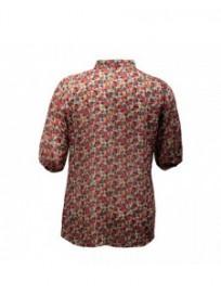 chemisier grande taille - chemisier manches courtes motif fleuri coloris rouge (dos)