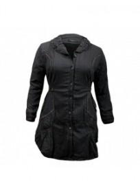 Manteau grande taille - manteau tissu alvéolé L33 gris foncé (face)