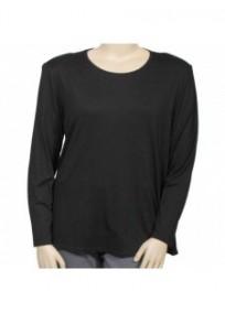 t-shirt noir manches longues Sheila Clin d'oeil grande taille (face)