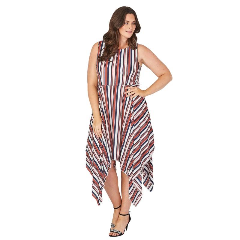 Robe Asymetrique Aux Rayures Verticales Stripe Grande Taille Lili London Du 44 Au 54
