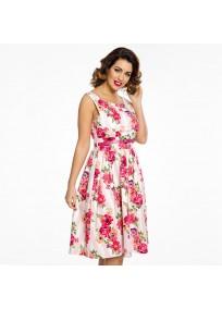 """robe grande taille - robe vintage """"Delta"""" Lindy Bop imprimé """"Bouquet floral"""" (côté porté)"""