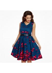 "robe grande taille - robe vintage ""Daria"" Lindy Bop imprimé ""coquelicot"" (face porté)"