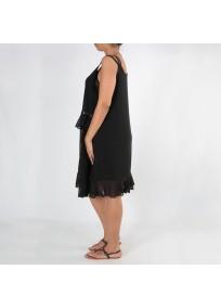 Robe grande taille - robe été noire à oeillets 2W (côté porté)