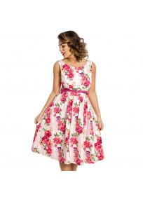 """robe grande taille - robe vintage """"Delta"""" Lindy Bop imprimé """"Bouquet floral"""" (face porté fond blanc)"""