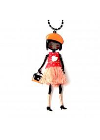 collier fantaisie grande taille - collier pepette Hannah coloris orange lol bijoux