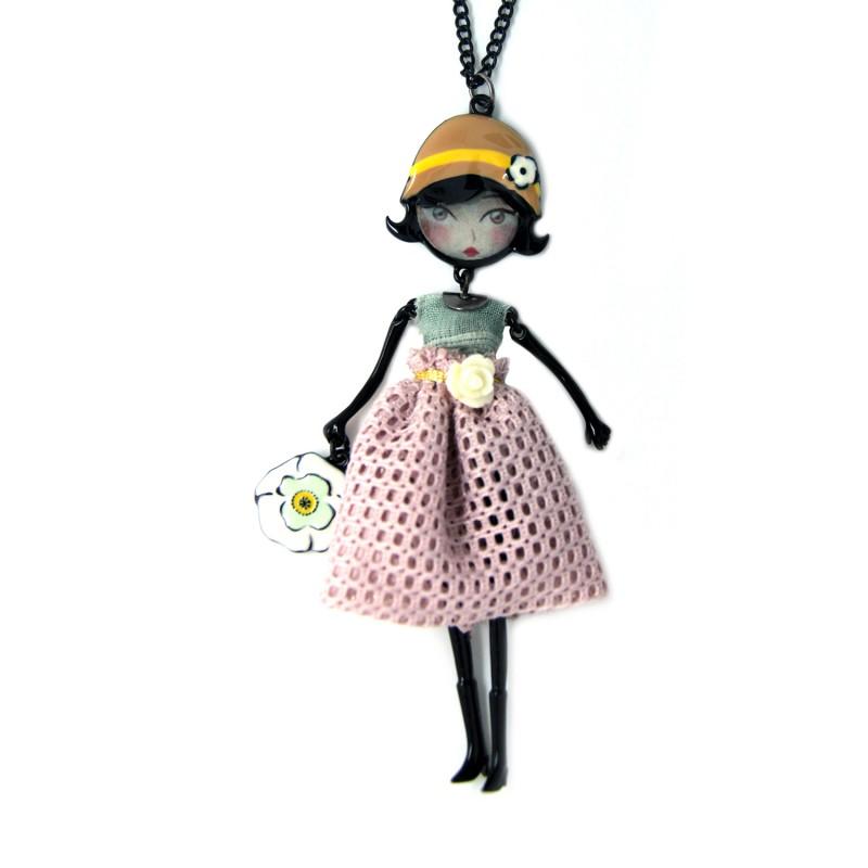 collier fantaisie grande taille - collier pepette Florence coloris parme lol bijoux