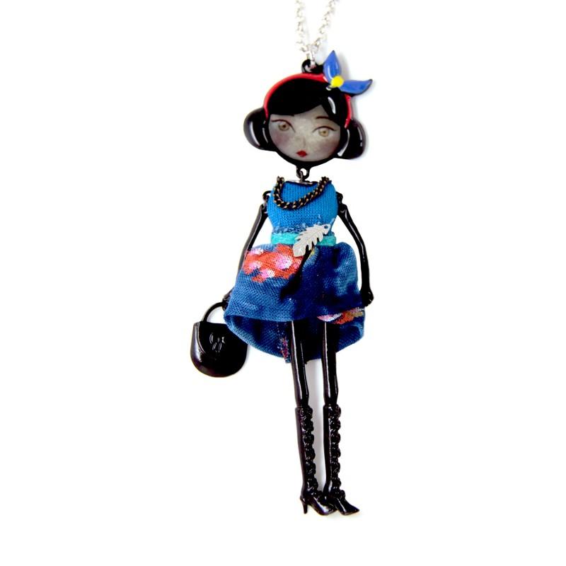 """collier fantaisie grande taille - collier pepette Julie coloris bleu """"les pepettes"""" Lol bijoux"""