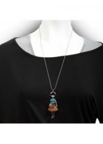 """collier fantaisie grande taille - collier pepette Cloé coloris bleu """"les pepettes"""" Lol bijoux (porté)"""