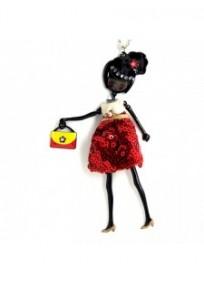"""collier fantaisie grande taille - collier pepette Jackie coloris rouge """"les pepettes"""" Lol bijoux"""