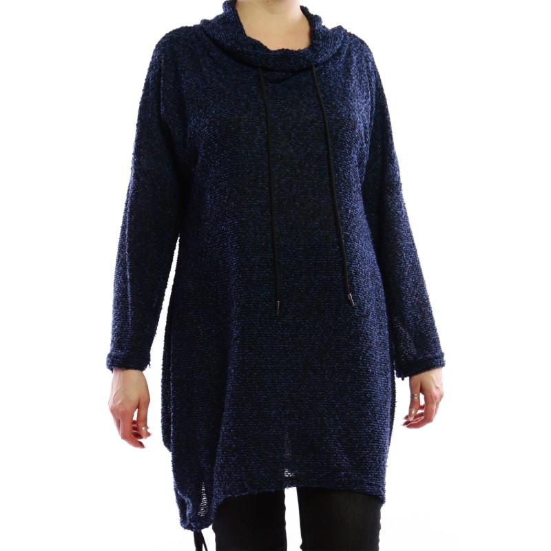 Pull grande taille - sweat bouclette bleu à capuche 2W (détail)