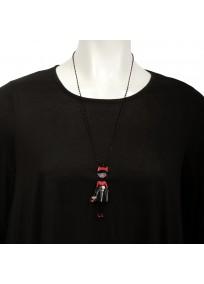 Collier fantaisie grande taille - sautoir Candice rouge les pepettes lol bijoux (porté)