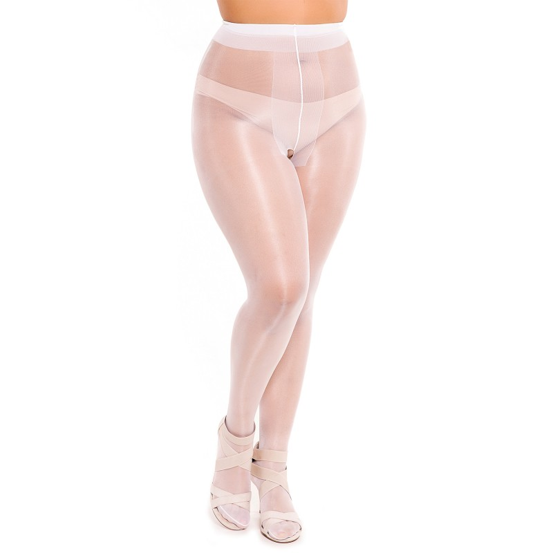 Collant grande taille - collant ouvert entrejambe coloris blanc Glamory