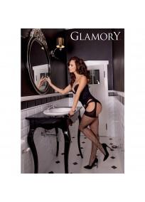 """Collant résille ouvert façon porte jarretelles Glamory """"Mesh ouvert"""" noir grande taille porté"""