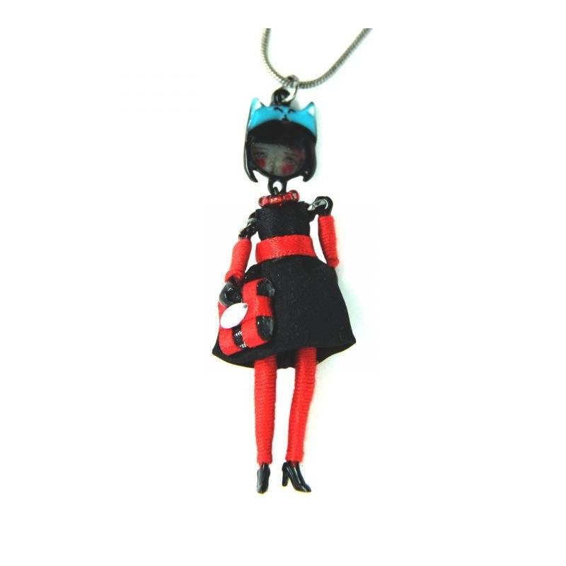collier fantaisie grande taille - collier mini pepette Kate coloris noir lol bijoux