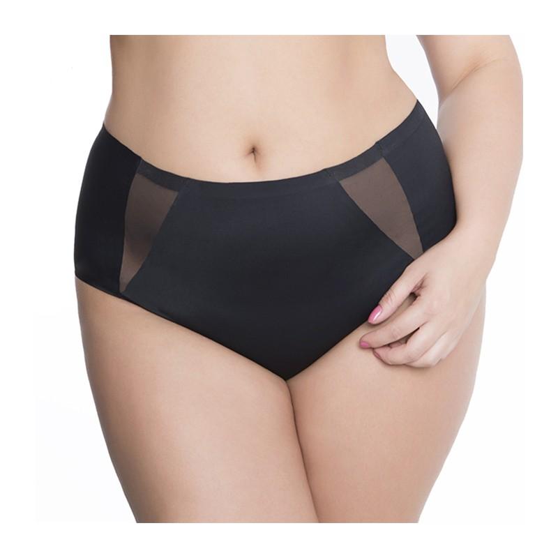 """Culotte haute grande taille avec empiècements transparents sur les côtés """"Pearl"""" noire de la marque Julimex"""