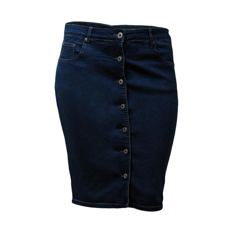 jupe grande taille - jupe en jeans boutonnage avant Nana Belle (face)