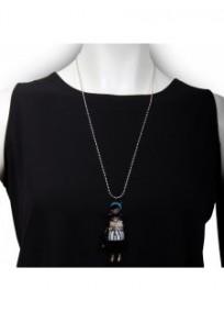 """collier fantaisie grande taille - sautoir pepette Sandra coloris bleu """"les pepettes"""" Lol bijoux (porté)"""