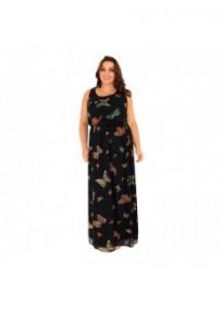 """robe grande taille - robe longue en voile """"vicky"""" imprimée papillons Lili London (portée face)"""