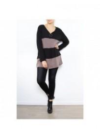 pull grande taille - pull rayé et zippé coloris noir / taupe 2W (porté face)