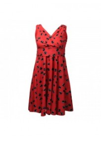 robe grande taille - robe vintage rockabilly rouge imprimé bulles noires (face)