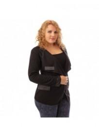 Veste grande taille - gilet blazer noir Maelle (porté)