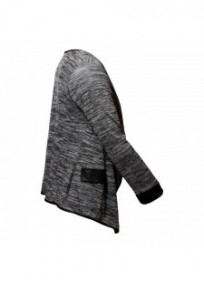 Veste grande taille - gilet blazer gris chiné Maelle (côté)
