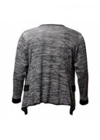 Veste grande taille - gilet blazer gris chiné Maelle (dos)