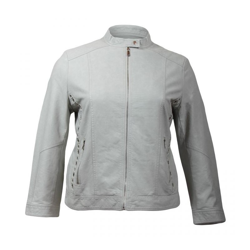 manteau grande taille - blouson simili cuir gris clair Nana Belle (face)
