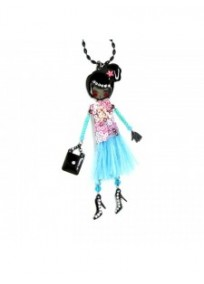 collier fantaisie grande taille - sautoir Claire les pepettes rose et bleue lol bijoux
