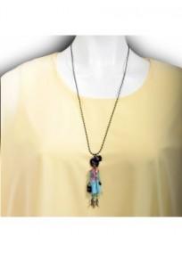 collier fantaisie grande taille - sautoir Claire les pepettes rose et bleue lol bijoux (porté)