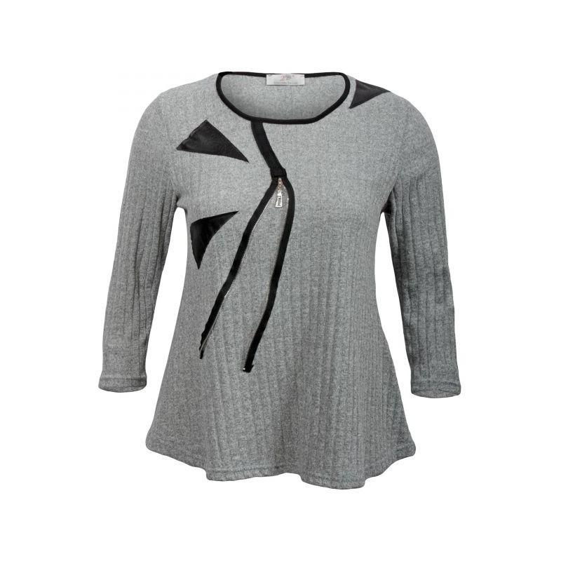 pull grande taille - pull côtelé empiecements simili cuir coloris gris (face 1)