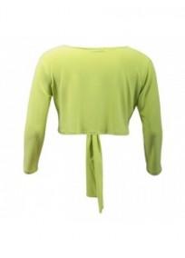 gilet grande taille - boléro à nouer manches longues Magna coloris vert anis (dos)