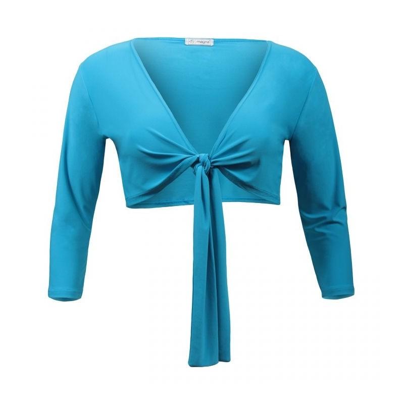 gilet grande taille - boléro à nouer manches longues Magna coloris bleu turquoise (face)