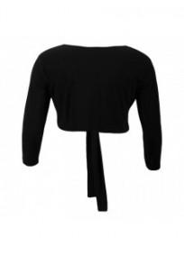 gilet grande taille - boléro à nouer manches longues Magna coloris noir (dos)