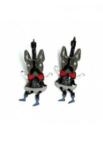 Boucles d'oreilles fantaisie - dormeuses butch le chien clown gris Lol bijoux