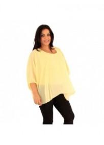 """tunique grande taille - tunique en voile """"Jessyca"""" jaune citron (portée de côté)"""