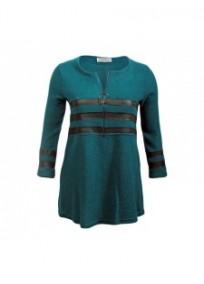 robe grande taille - robe pull forme corolle zippée 2w bleu canard (face)