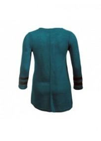 robe grande taille - robe pull forme corolle zippée 2w bleu canard (dos)