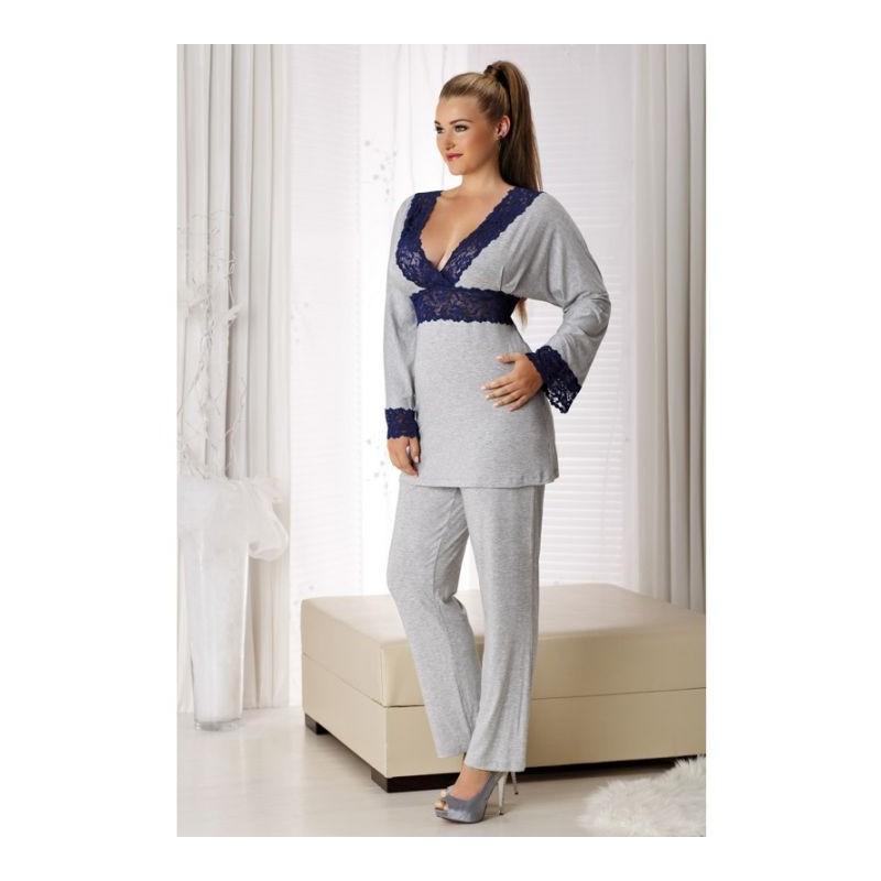 pyjama grande taille - pyjama gris bordures dentelle transparente Andaléa Raquel (porté)