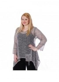 tunique grande taille - top maille filet évasé gris chiné magna fashion