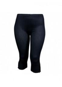 Pantalon grande taille - legging court aspect jeans bleu (face)